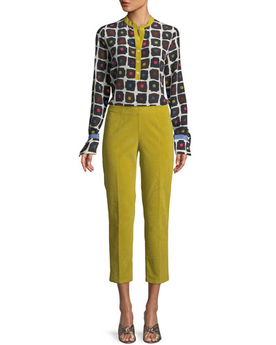 Graphic Dot-Print High-Low Silk Blouse with Contrast Henley  and Matching Items