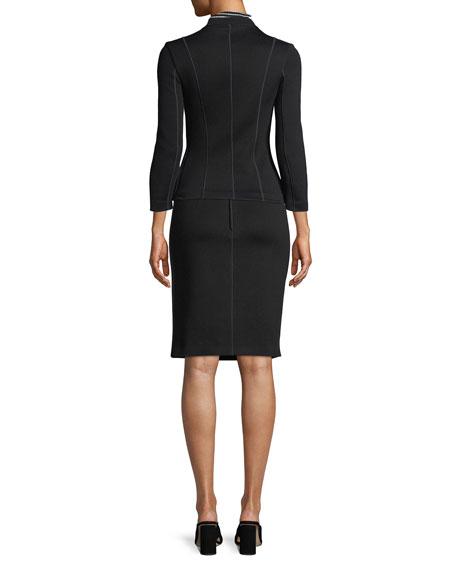 Bracelet-Sleeve Zip-Front Short Scuba Jacket