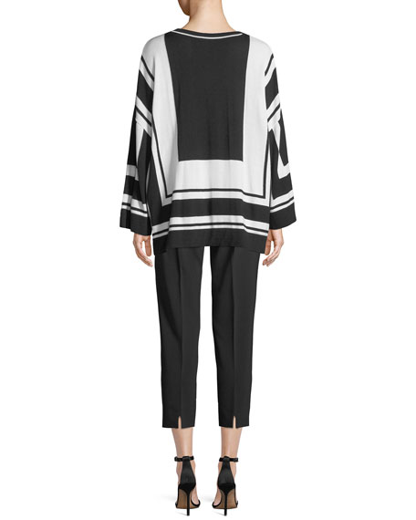 Graphic-Stripe Wool/Silk Sweater