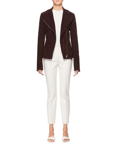 Paylee Asymmetric Zip-Front Suede Leather Moto Jacket and Matching Items