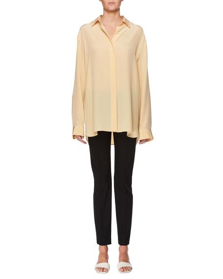 Big Sisea Button-Front Oversized Silk Shirt