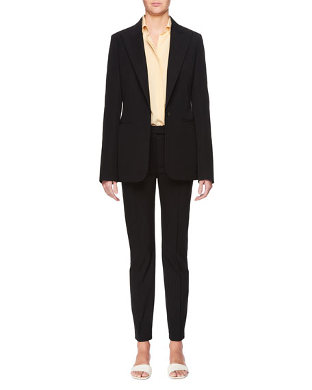 Limay Single-Breasted One-Button Crepe Jacket