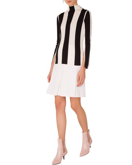 Turtleneck Split-Sleeves Striped Wool Sweater