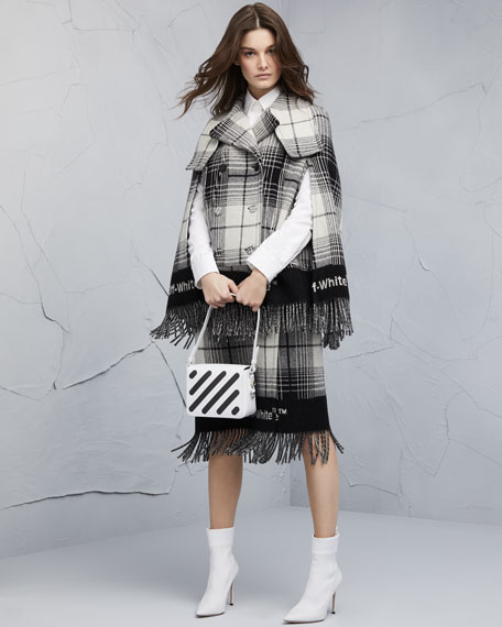 Double-Breasted Check Blanket Cape