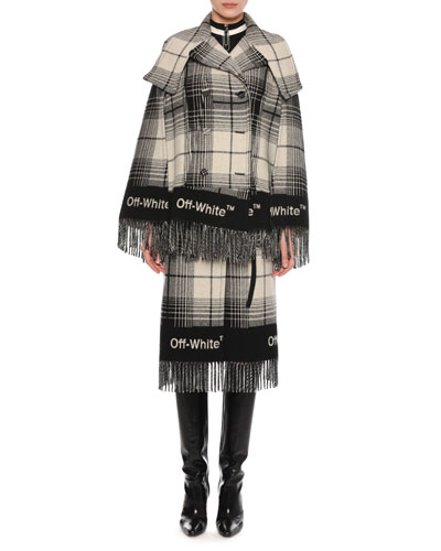 Double-Breasted Check Blanket Cape and Matching Items