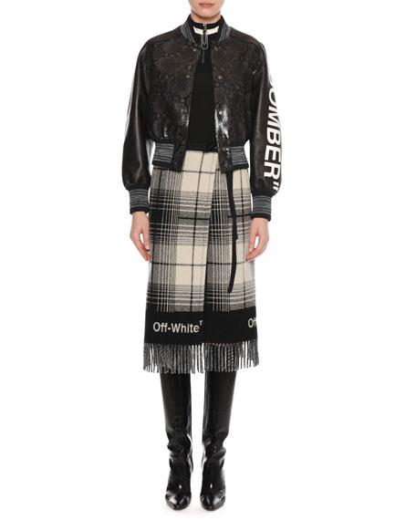 """Bomber"" Python-Embossed Crop Varsity Leather Jacket"