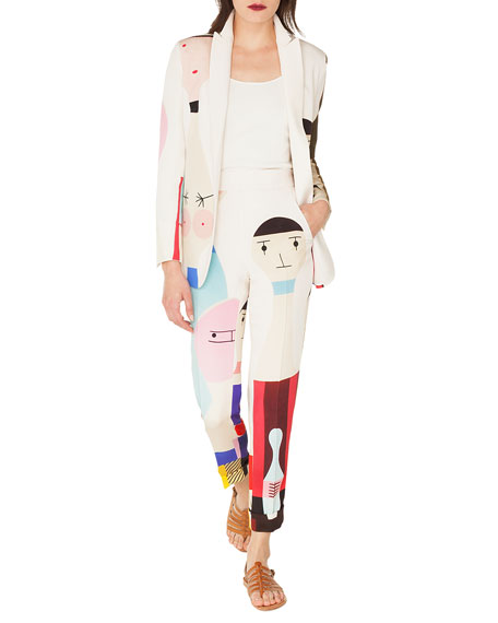 Salvador No-Closure Doll-Print Silk Crepe Jacket