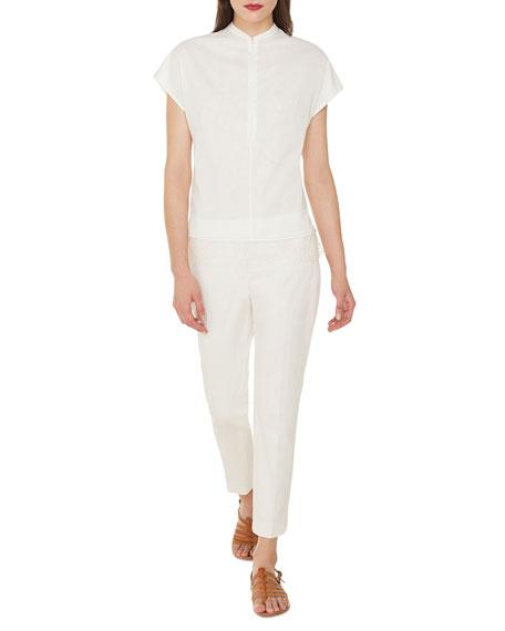 Cap-Sleeve Zip-Front Cotton Voile Blouse w/ Back Pleat