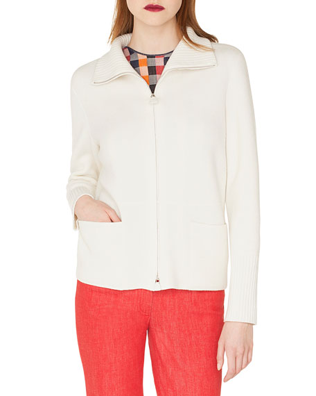 Zip-Front Stand-Collar Cashmere Knit Cardigan