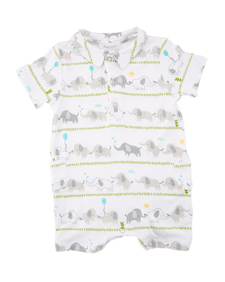 Elephant Stripe Polo Shortall, Size 0-12 Months