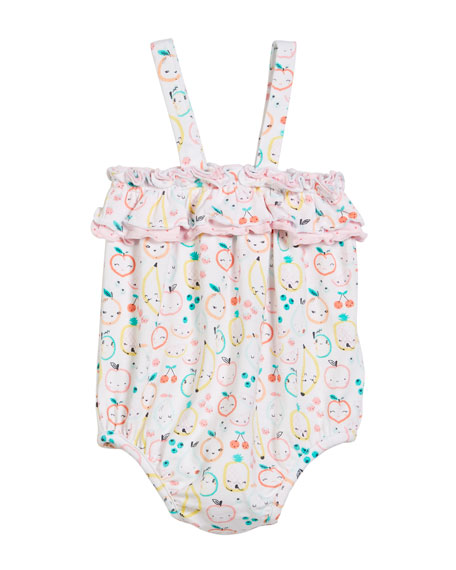 Fruit Ruffle-Chest Gown, Size 0-3 Months