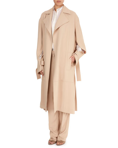 Notched-Collar Belted Wrap Trench Coat and Matching Items