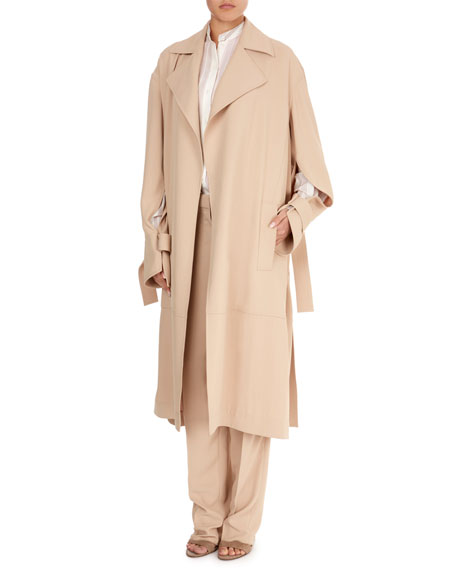 Notched-Collar Belted Wrap Trench Coat