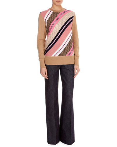 Crewneck Long-Sleeve Multi-Yarn Chunky-Knit Wool-Blend Sweater and Matching Items