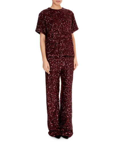Short-Sleeve Jewel-Neck Sequin T-Shirt and Matching Items