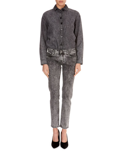 Long-Sleeve Button-Front Cotton Jean Shirt and Matching Items