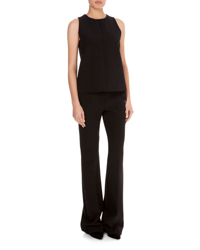 Round-Neck Sleeveless A-Line Wool Crepe Top and Matching Items
