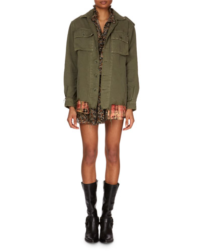 Button-Down Long-Sleeve Military Jacket w/ Plaid Shirttail Hem and Matching Items
