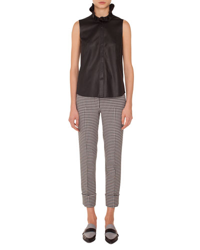 Frankie Check Woven Straight-Leg Crop Pants and Matching Items