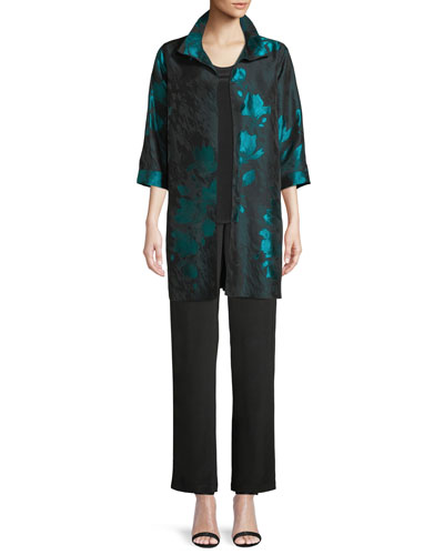 Midnight Garden Jacquard Topper Jacket and Matching Items, Plus Size