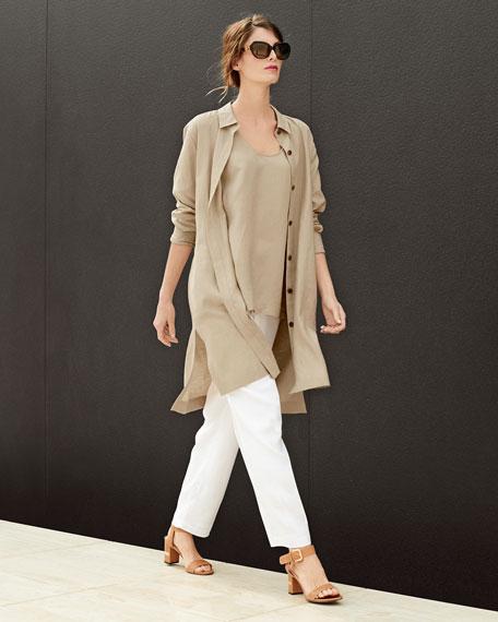 Long-Sleeve Linen Duster Coat, Plus Size