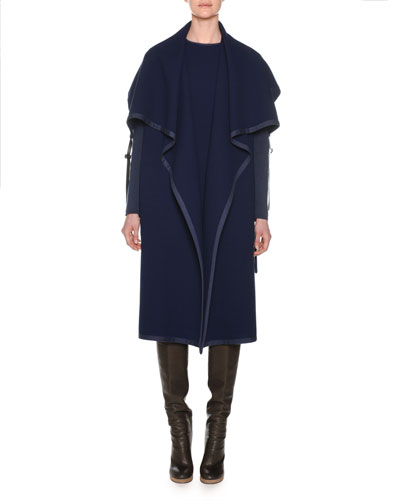 Shawl-Collar Open-Front Belted Wool Coat w/ Knit Sleeves  and Matching Items