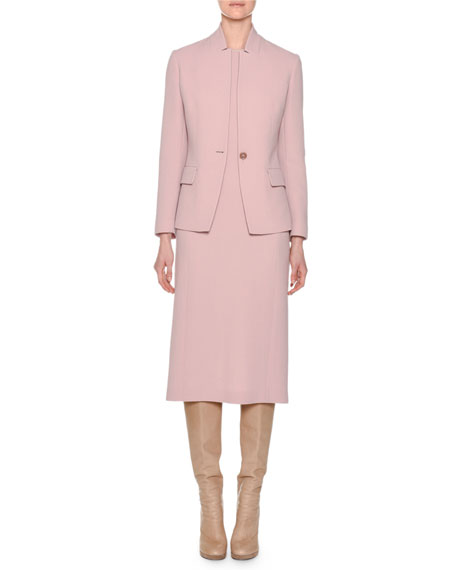 One-Button Notched-Collar Shaped Wool Crepe Jacket