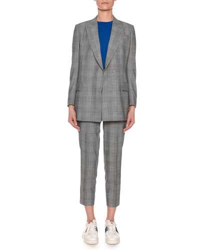 Peak-Lapel One-Button Glen-Plaid Jacket and Matching Items