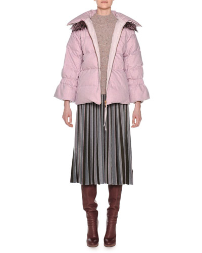 Mock-Neck Tweed Oversized Wool-Cashmere Sweater and Matching Items