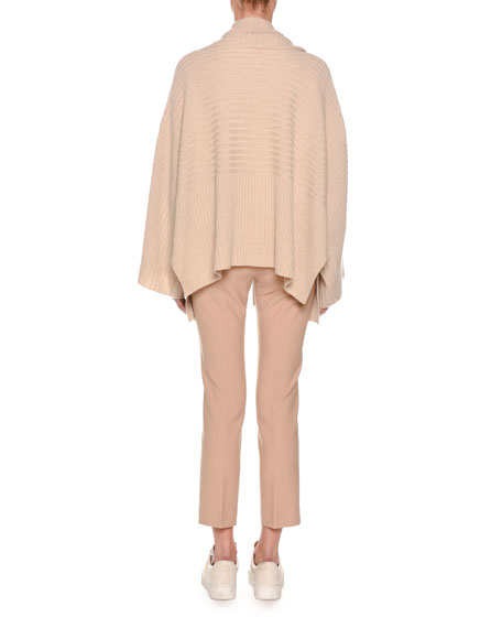 Long-Sleeve Crewneck Cashmere Sweater w/ Step Hem