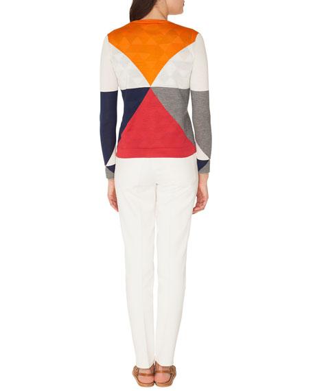Long-Sleeve Diamond-Jacquard Silk/Cashmere Cardigan