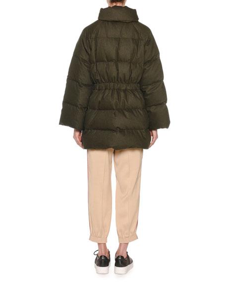 Zip-Front Wool-Blend Flannel Puffer Coat w/ Fox-Fur Trim