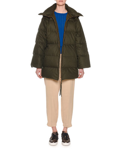 Zip-Front Wool-Blend Flannel Puffer Coat w/ Fox-Fur Trim and Matching Items