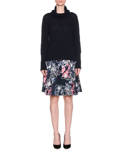 Abstract Floral-Print Silk Satin A-Line Knee-Length Skirt and Matching Items