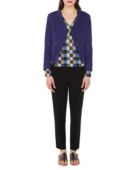 Sara Zip-Front Lamb Suede Cardigan-Style Jacket