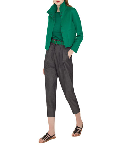 Rachel Button-Front Cashmere Jacket with Back Pleat and Matching Items