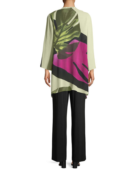 Palm Leaf Georgette Long Jacket, Petite