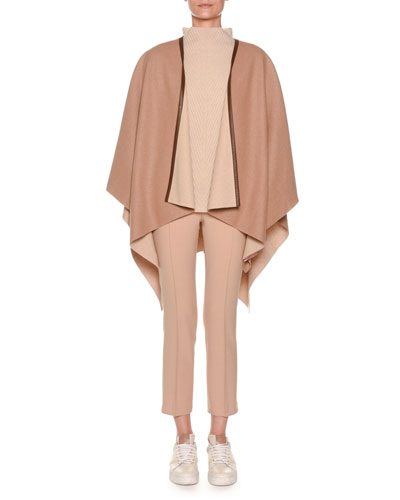 Cashmere Cape with Leather Trim and Matching Items