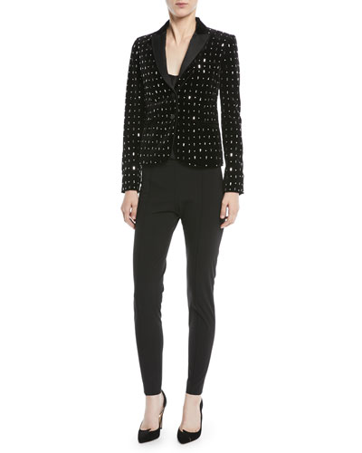 Two-Button Embellished Velvet Tuxedo Jacket  and Matching Items
