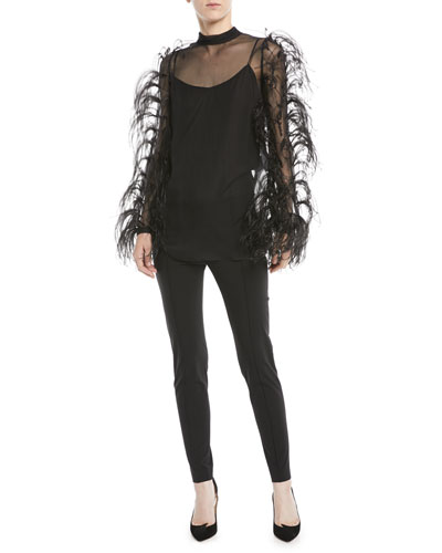 Ostrich-Feather Long-Sleeve Silk Chiffon Blouse and Matching Items