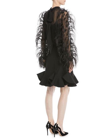 Ostrich-Feather Long-Sleeve Silk Chiffon Blouse