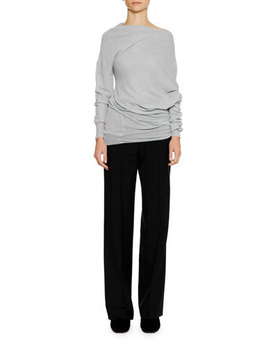 Flat-Front Straight-Leg Wool-Mohair Pants with Thin Belt and Matching Items