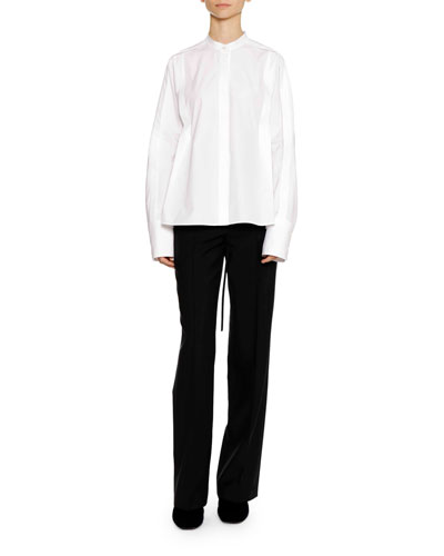 Long-Sleeve Button-Down Cotton Shirt with Pleat Detail  and Matching Items