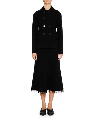 A-Line Calf-Length Wool-Blend Midi Skirt with Fringe Hem and Matching Items