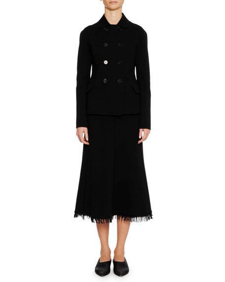 A-Line Calf-Length Wool-Blend Midi Skirt with Fringe Hem