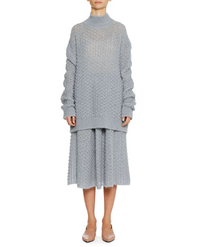 Turtleneck Long-Sleeve Open-Weave Oversized Mohair-Silk Sweater and Matching Items