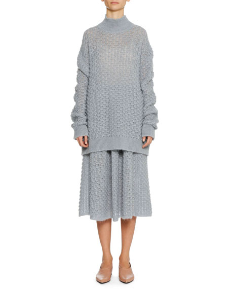 Turtleneck Long-Sleeve Open-Weave Oversized Mohair-Silk Sweater