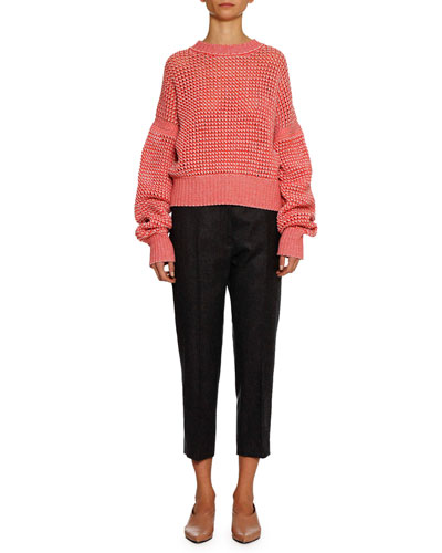 Tapered-Leg Cropped Wool Pants and Matching Items