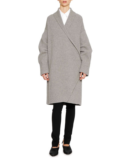 Open-Front Long-Sleeve Wool-Cashmere Cardigan w/ Martingale Back