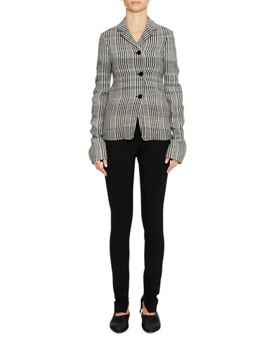 Three-Button Plaid Check Shrunken Blazer w/ Oversized Patch Pockets and Matching Items